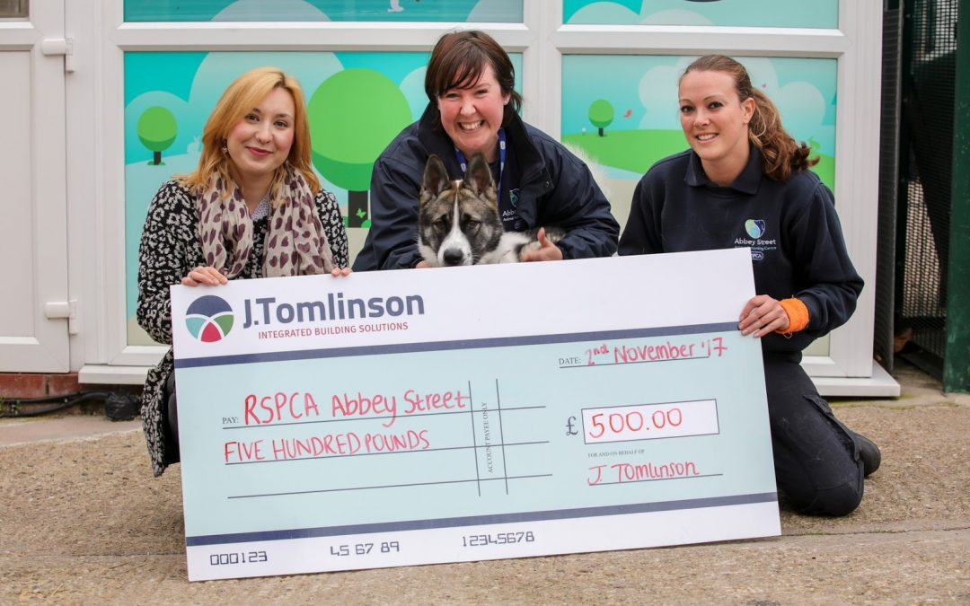 RSPCA Abbey Street receives a generous donation fromJ Tomlinson